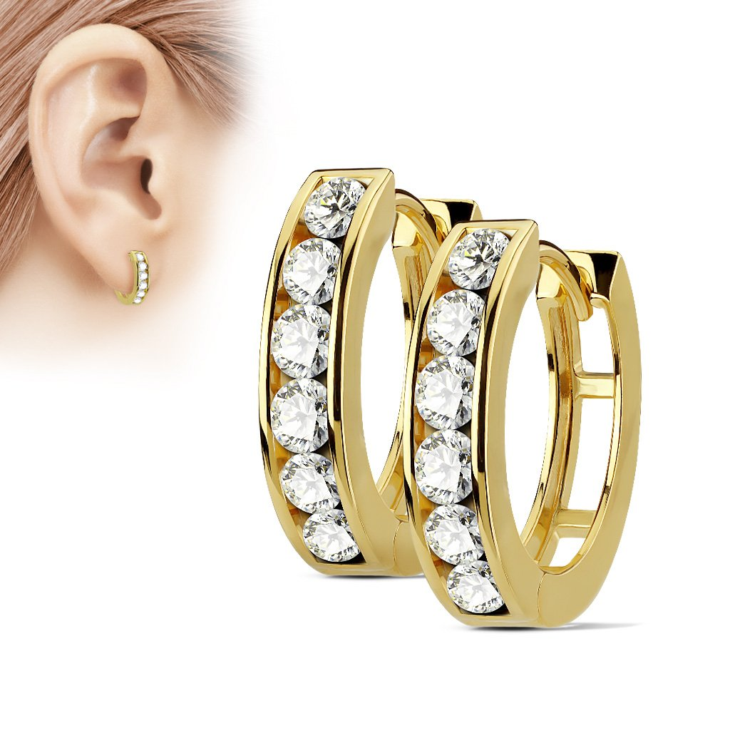 Chunky Golden Crystal Huggie Hoop Earrings
