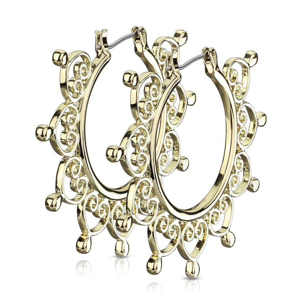 Gold Heart Filigree Hoops