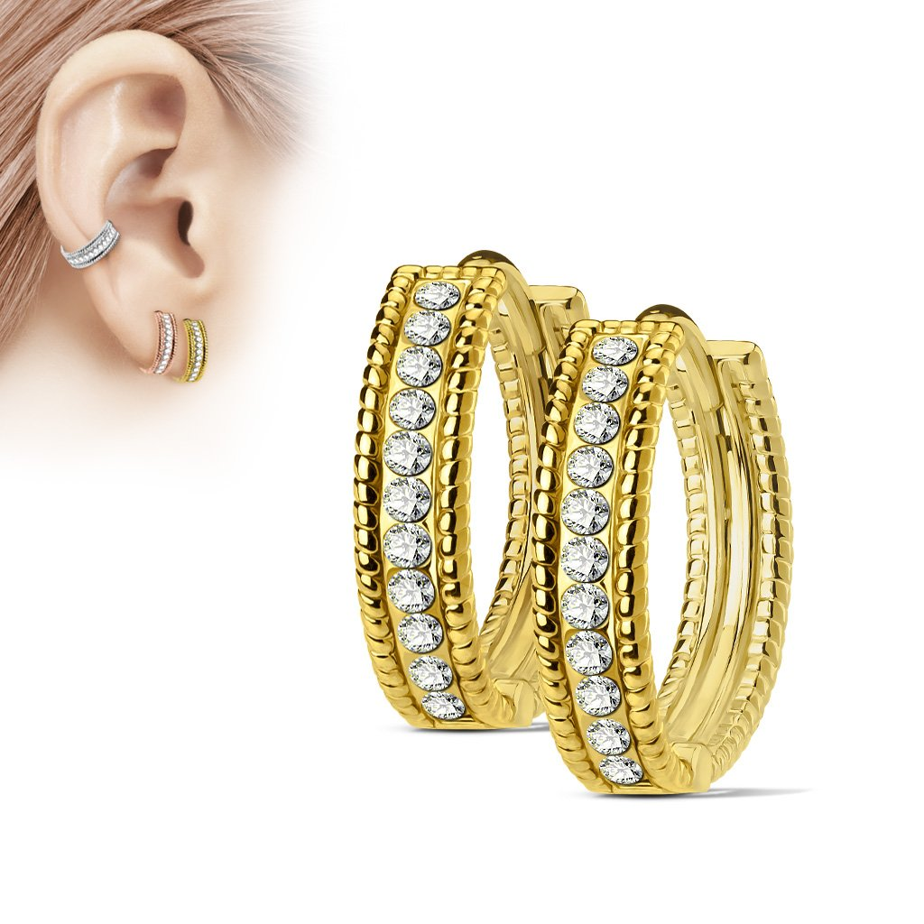 Golden Beaded Edge Crystal Huggie Hoop Earrings
