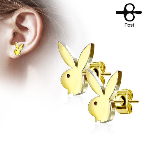 Playboy Bunny Stainless Steel Stud Earrings - Gold
