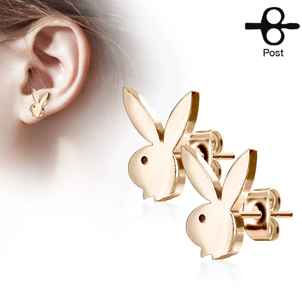 Playboy Bunny Stainless Steel Stud Earrings - Rose Gold