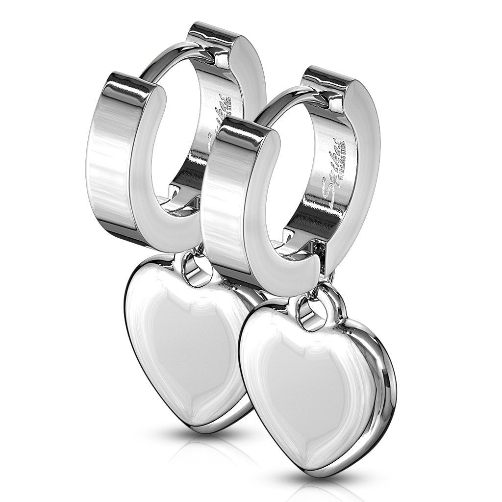 Silver Serenity Heart Mini Hoops