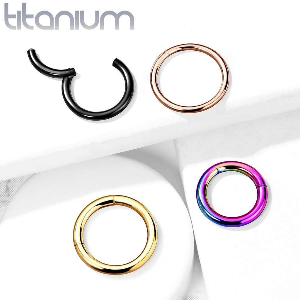 Titanium Anodized PVD Hinged Hoop Rings
