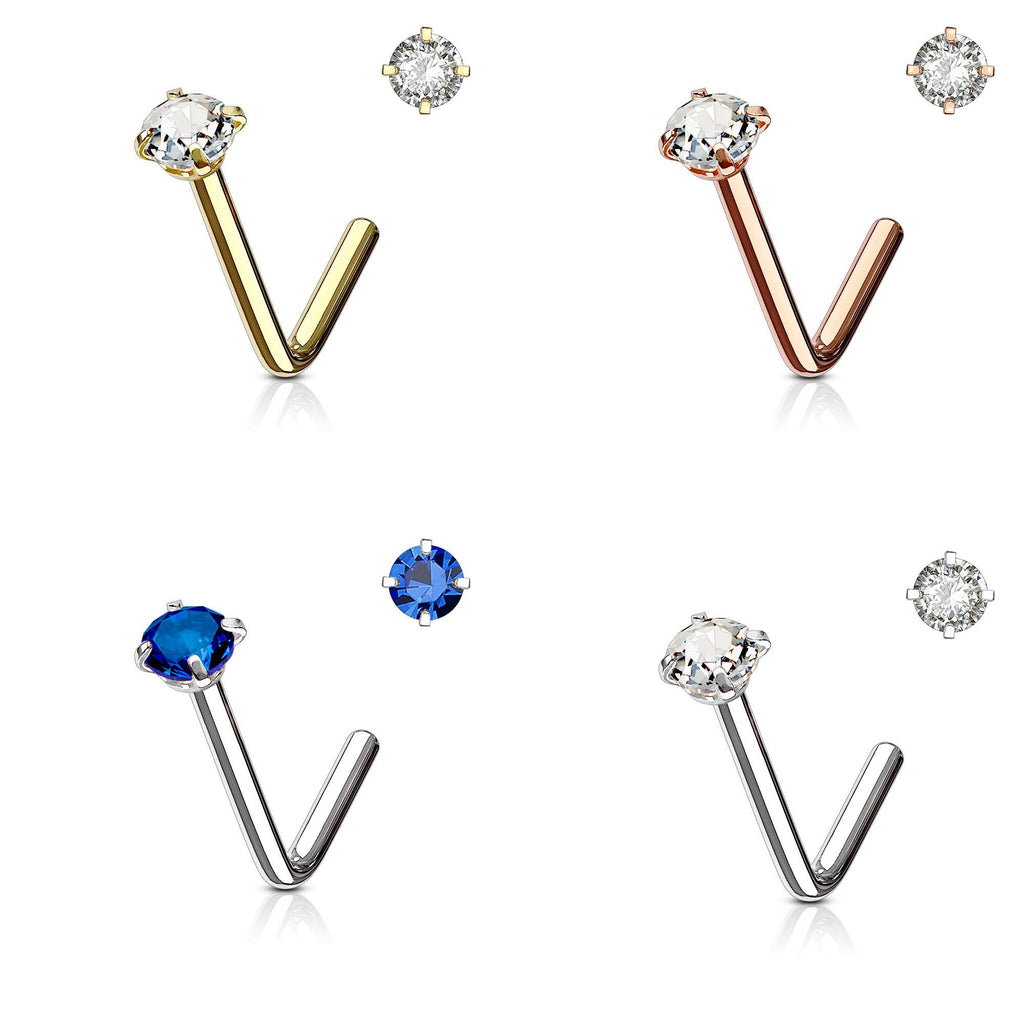Prong Set Crystal L Bend Nose Stud