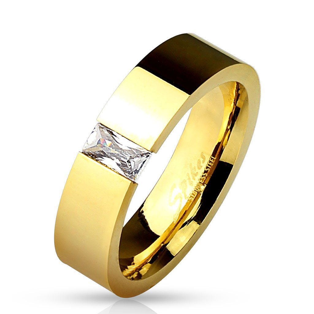 Kim Square CZ Gold Tension Ring