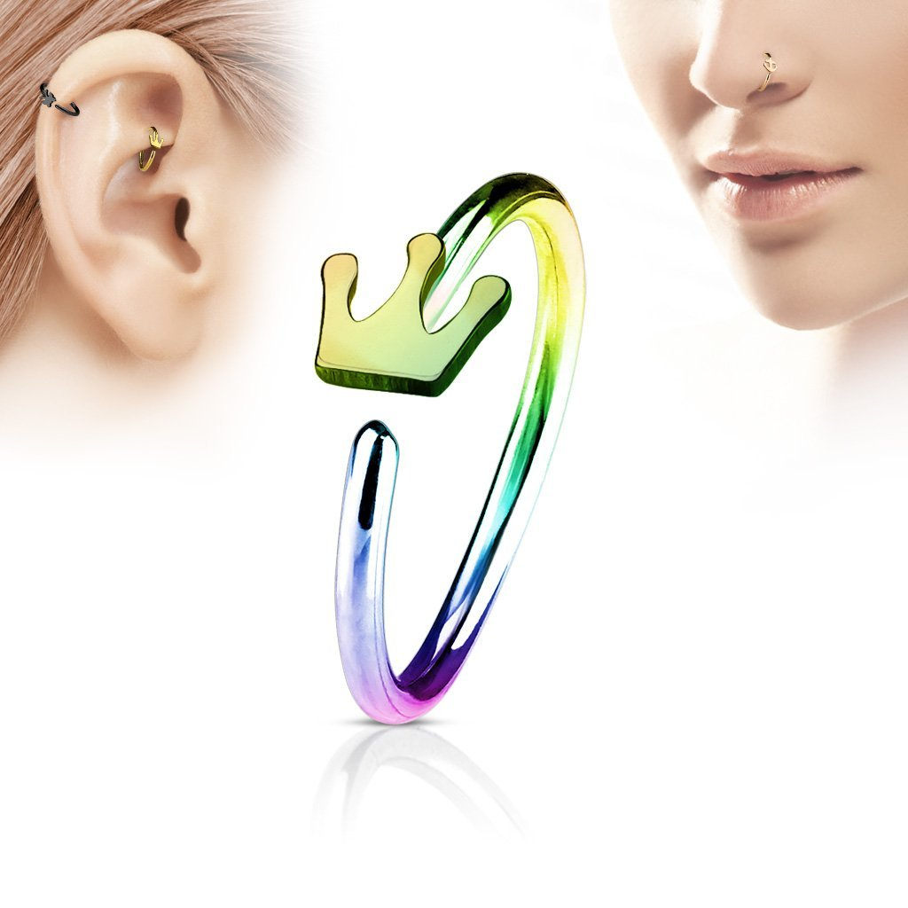 Rainbow Crown Nose Hoop Ring for Nose & Ear