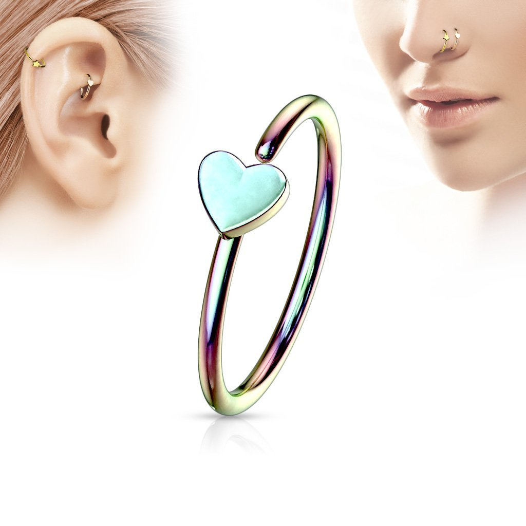 Rainbow Heart Nose Hoop Ring for Nose & Ear Cartilage