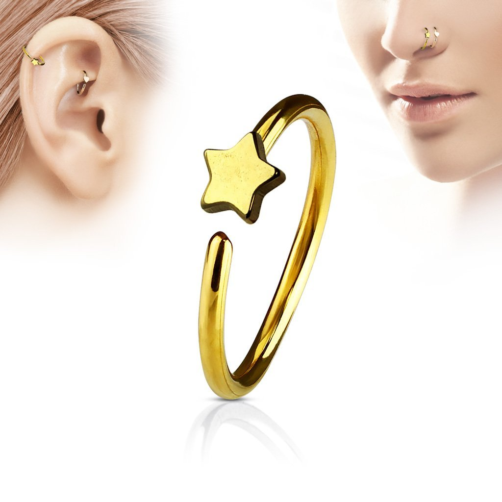 Gold Star Hoop Ring for Nose & Ear