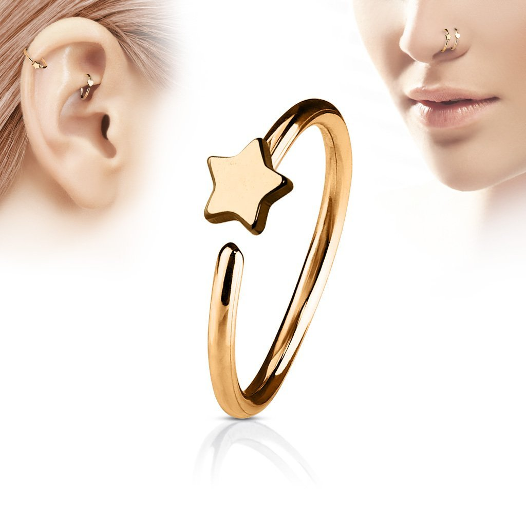 Rose Gold Star Hoop Ring for Nose & Ear