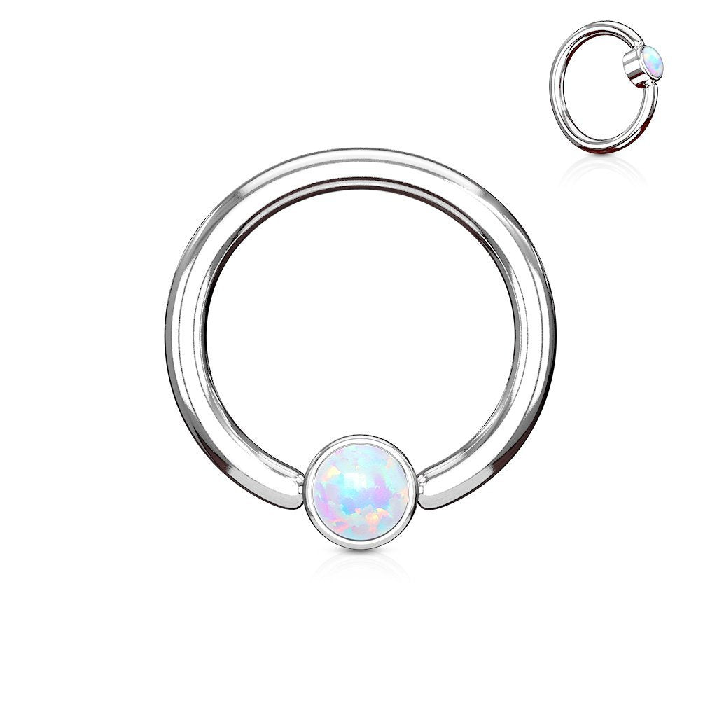 Opal Captive Ring Silver