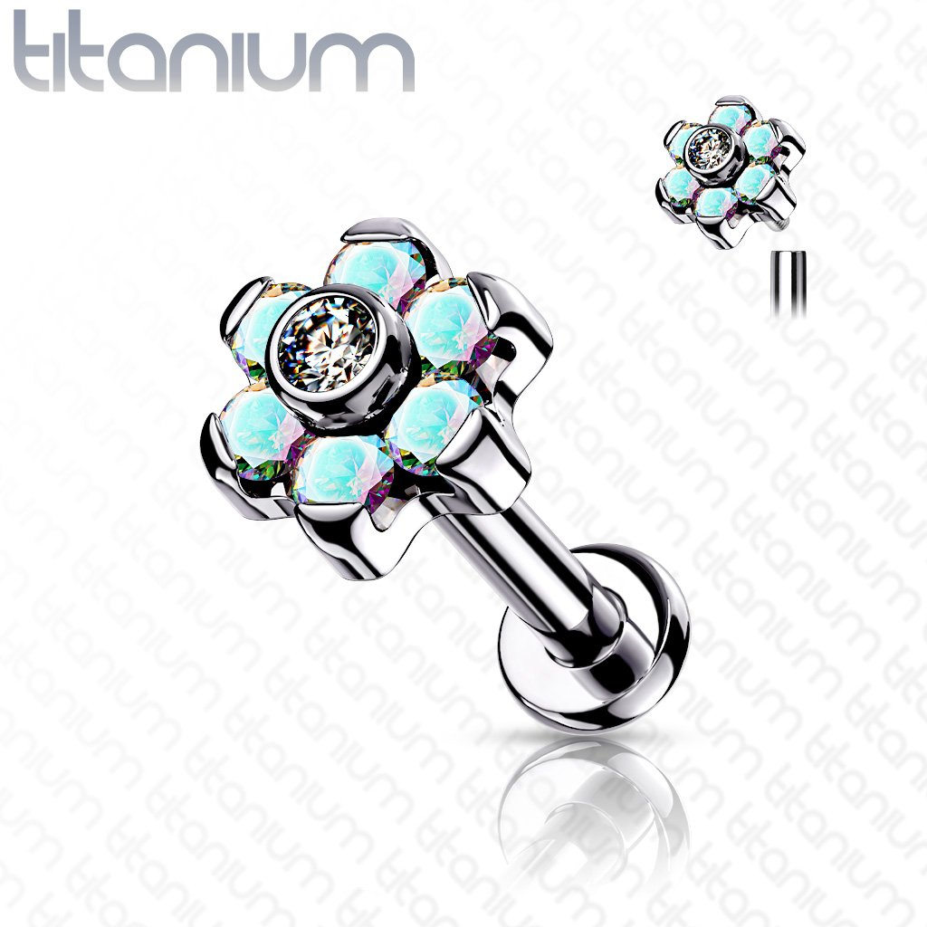 16 Gauge Titanium Internally Threaded Crystal Flower Labret Stud