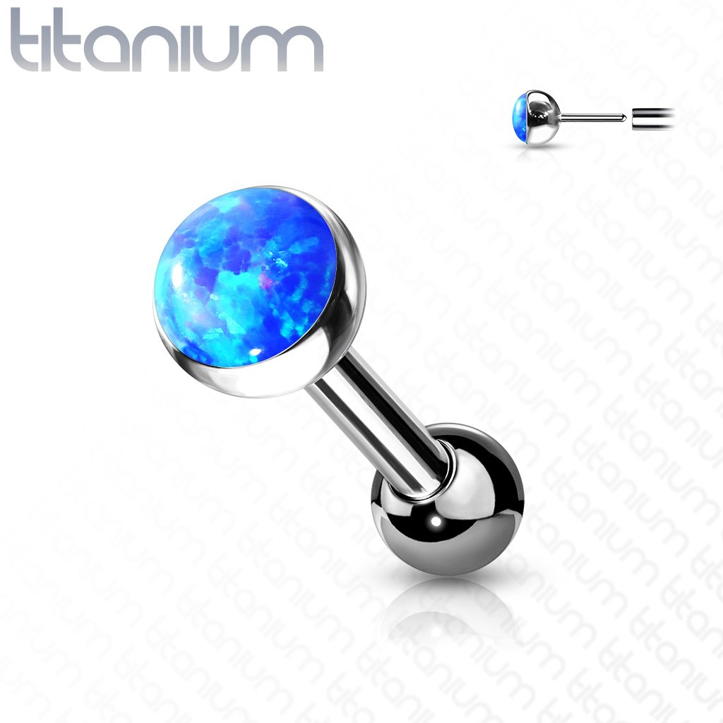 Titanium Push Fit Opal Cartilage Barbell