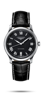 Longines Master Black Dial Leather Mens Watch