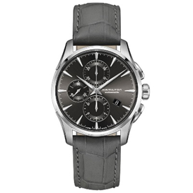 Hamilton Jazzmaster Chronograph Grey Dial Black Leather Mens Watch