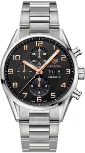TAG Heuer Carrera Cal16 Black Chronograph Stainless Steel  Mens Watch