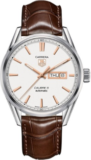 TAG Heuer Carrera Day/Date Brown Leather Strap Mens Watch