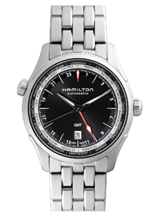 Hamilton Gmt Black Dial Stainless Steel  Mens Watch
