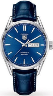 TAG Heuer Carrera Cal 5 Day/Date Blue Dial Blue Leather Strap  Mens Watch