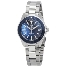TAG Heuer Aquaracer Quartz 300 M 35 mm Steel And Blue Mother-Of-Pearl Dial With Blue Ceramic Bezel  Mens Watch
