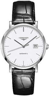Longines Elegant 39 mm  White Dial Black Leather  Mens Watch