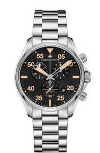 Hamilton Khaki Pilot Chronograph Qrtz Stainless Steel Black Dial 44 mm   Mens Watch