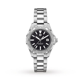TAG Heuer Aqua Black Auto 32mm Stainless Steel  Ladies Watch