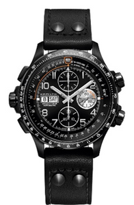 Hamilton Khaki Xwind Black Chronograph Black Leather  Mens Watch