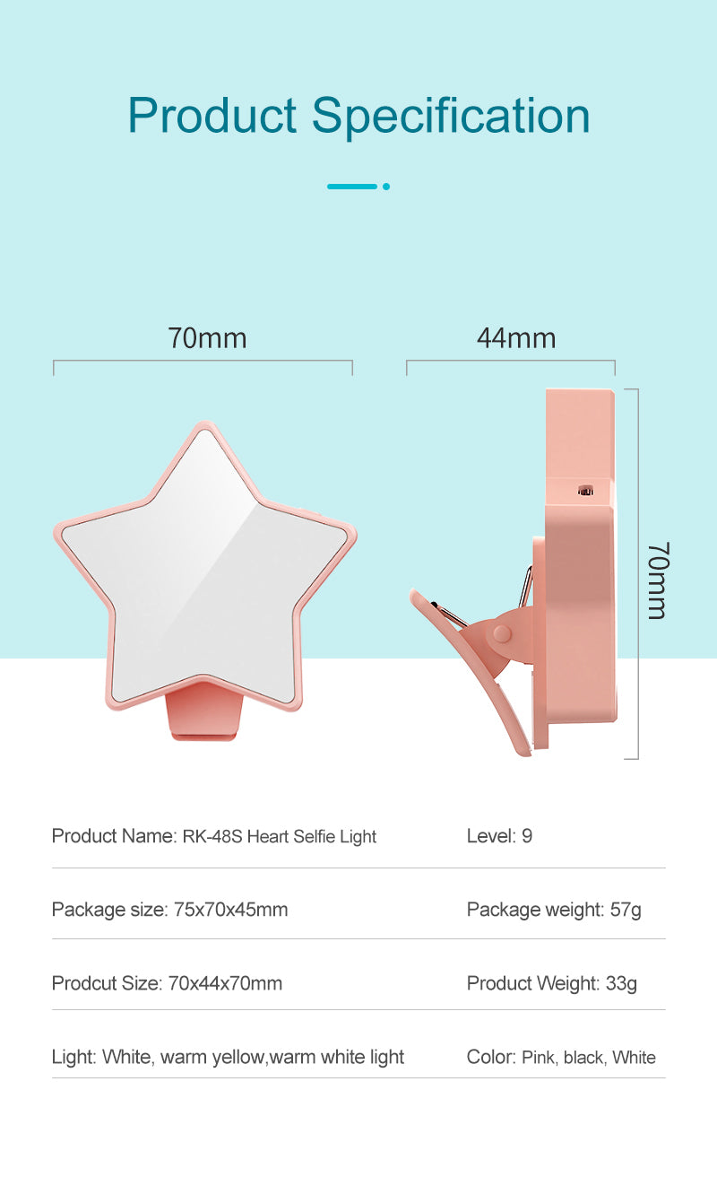 Baby Kawaii Lighting Star Light (RK48S) 70mm Star Shaped Dimmable LED mobile light