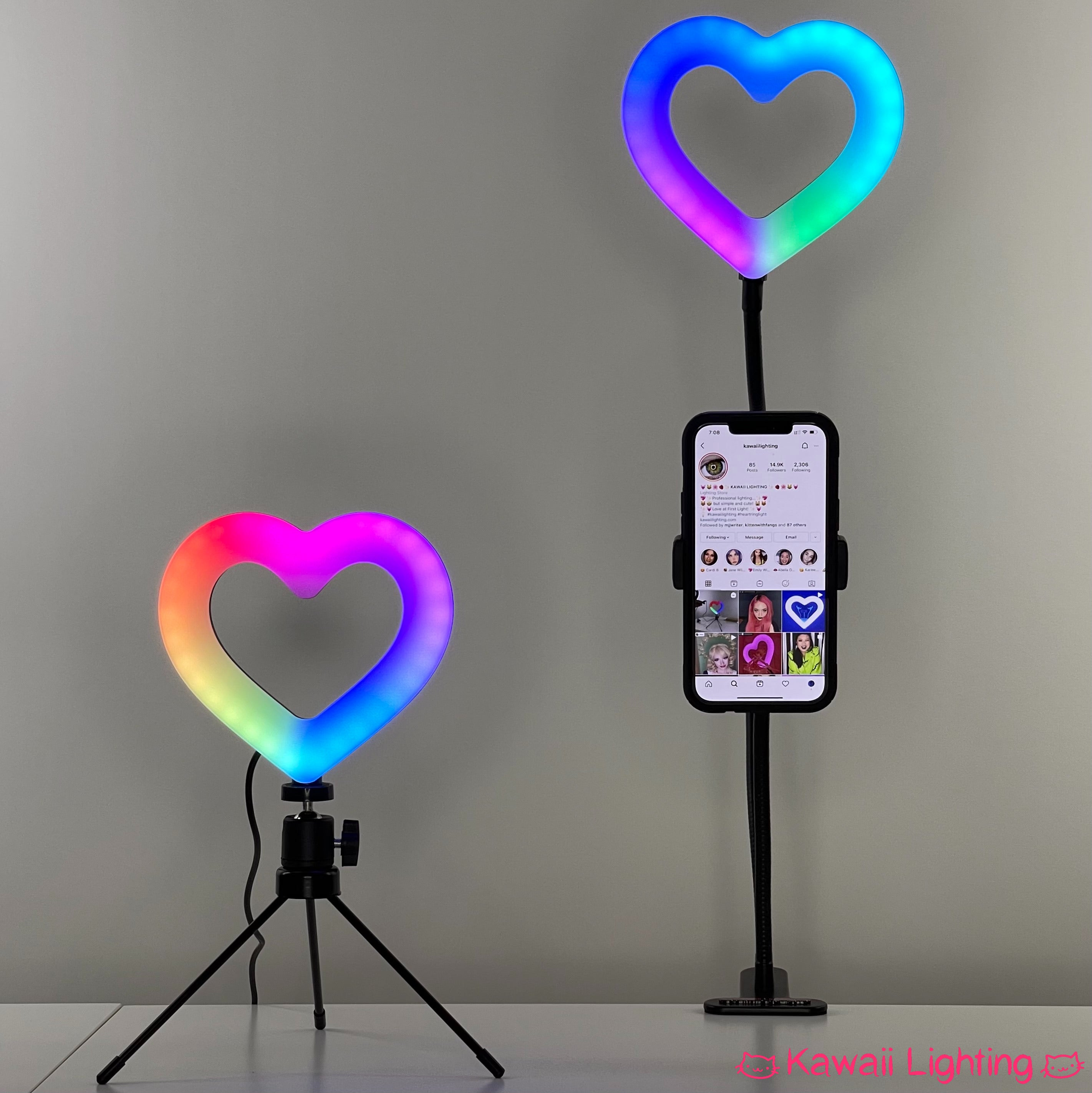 "Small Heart Ring Light RGB by Kawaii Lighting 6"" Small Heart Shape Dimmable RGB LED Ring Light Kit"