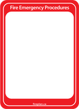 Evacuation Sign Holder / Fire Emergency Procedures Sign Holder