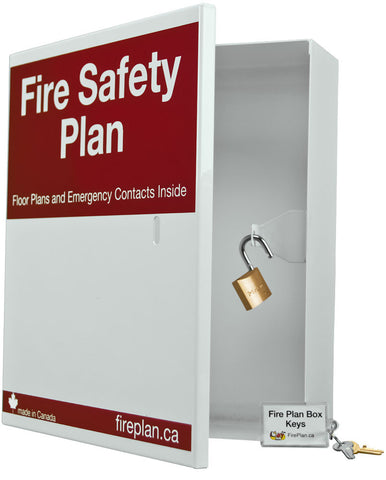Fire Safety Plan Box - Front Open With Lock and Key