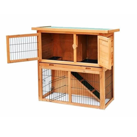 Rabbit and Guinea Pig 2 Tier Wooden Hutch