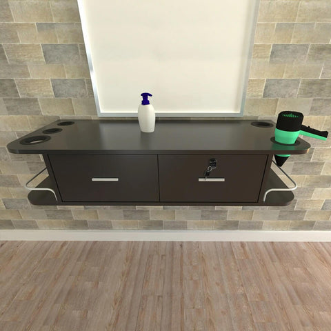 Wall Mounted Salon Table Stand with 2 Drawers & Barber Tool Rack