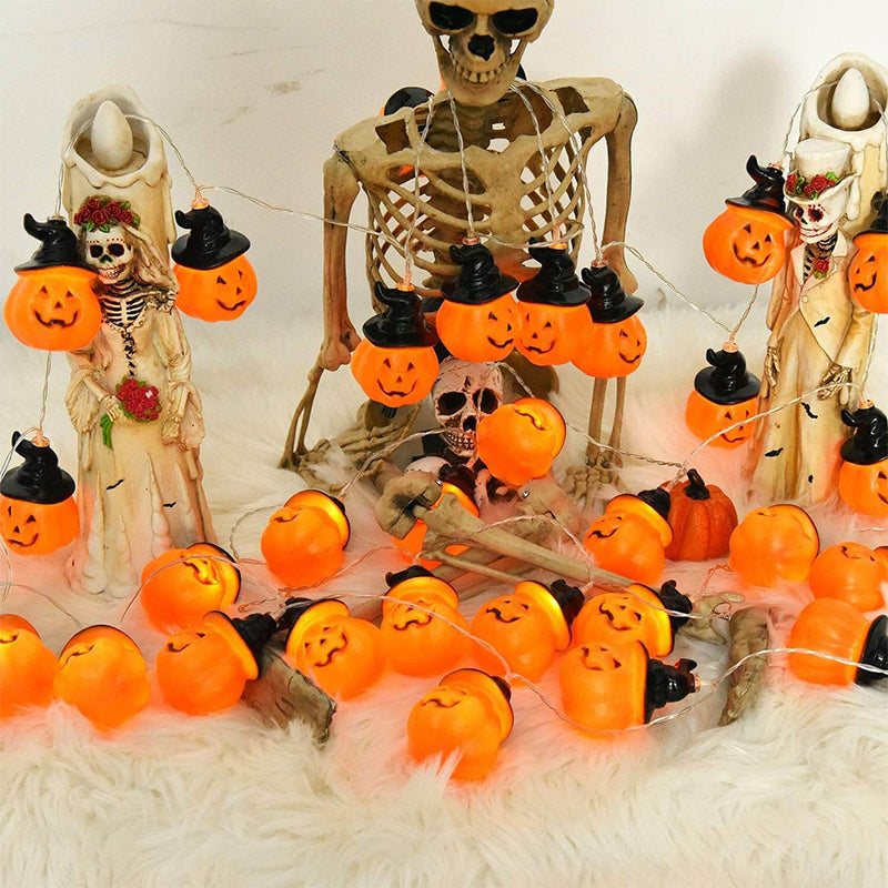 Pumpkin String Lights With Wizard Hat