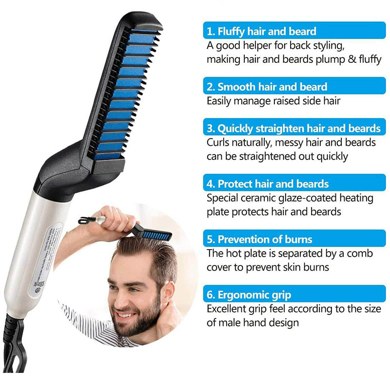 Multifunctional Beard Straightener Heated Hair Comb