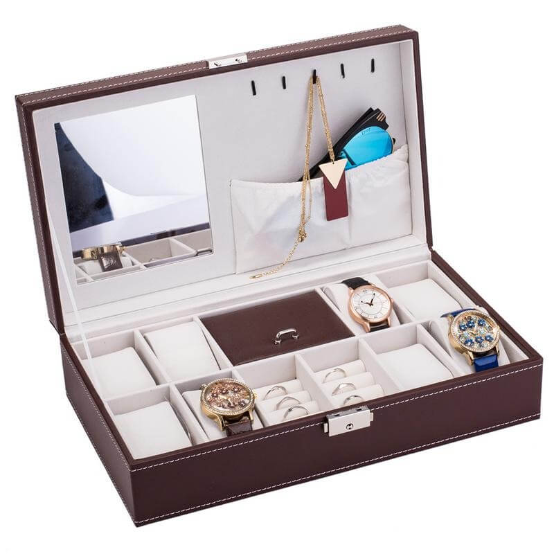 Jewelry Box Storage Case With Lock And Mirror