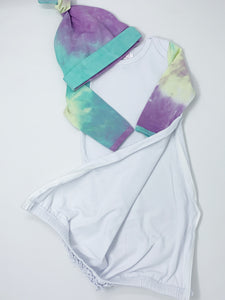 Tie-Dye Baby Gown Headband Set with Hidden Zipper (Swatch Included)