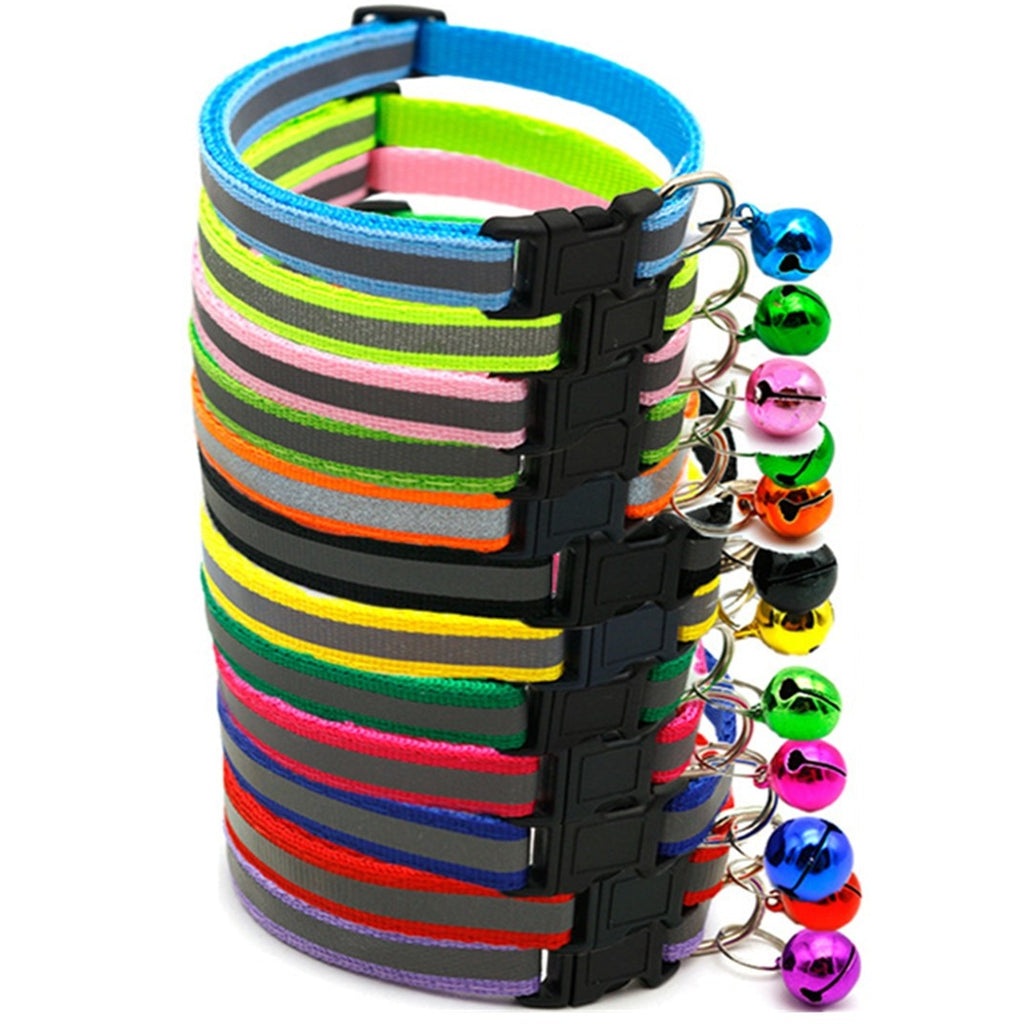Adjustable Reflective Cat Collar with Bell - 12 colors - Funny Cats Shop