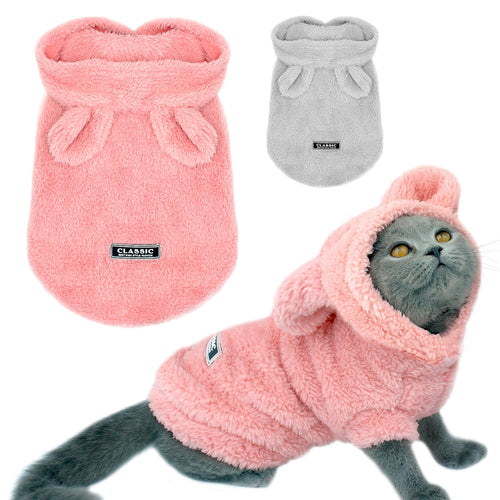 Winter Cat Clothes with Rabbit Ears