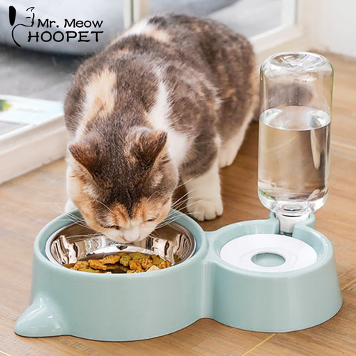 Cute Double Cat Food and Drinking Bowl - Stainless Steel Cat Bowl with an Automatic Water Dispenser
