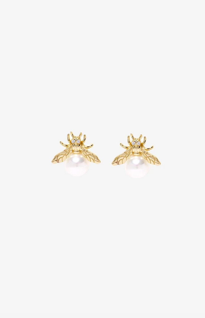 Aurelia Bee Pearl Earrings - Gold