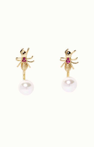 Evangelina Ant Pearl Earrings