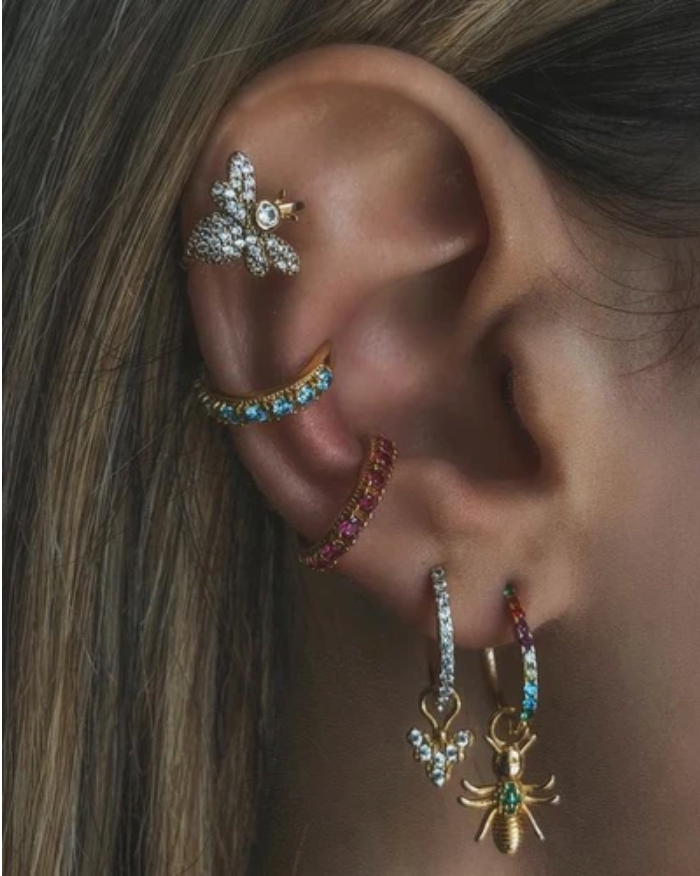 Rosalind Ear Cuff - Gold & Blue