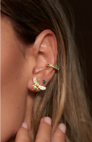 Rosalind Ear Cuff - Gold & Green