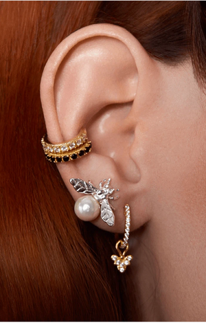 Rosalind Ear Cuff - Gold & Black