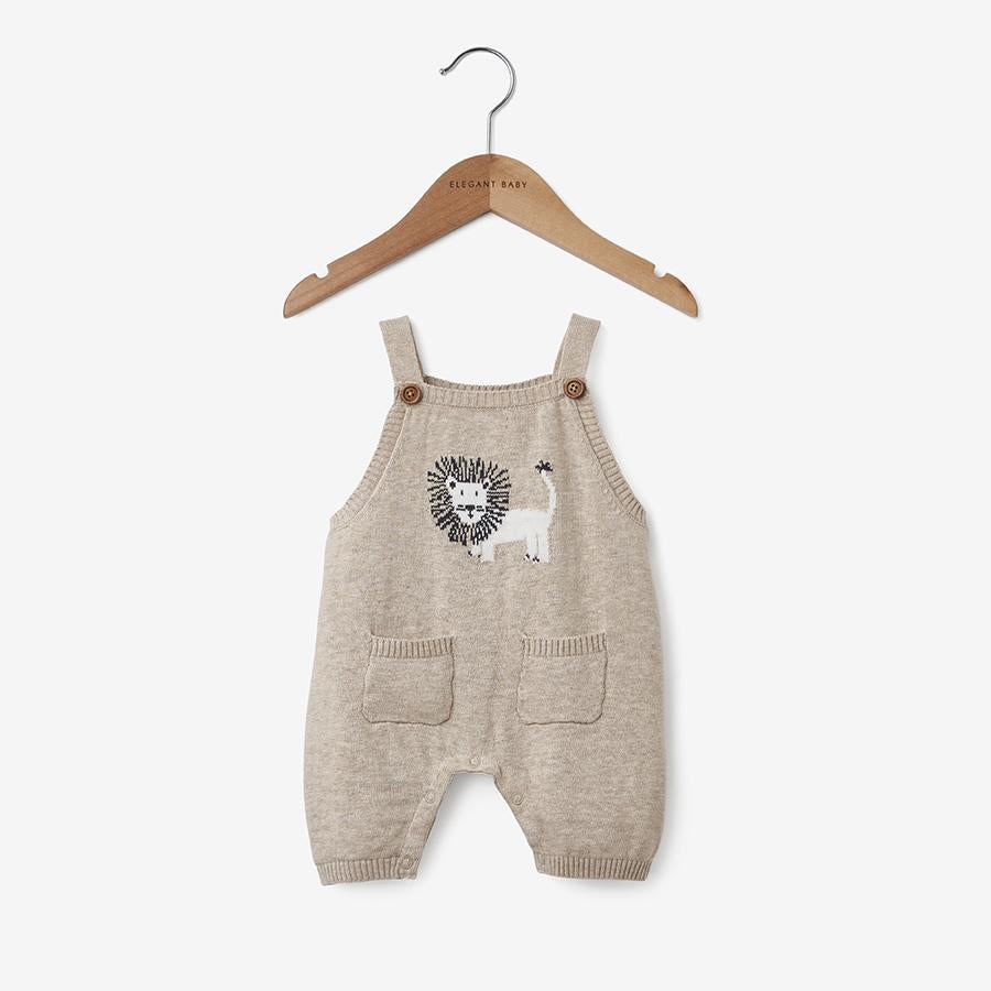 Lion Knit Overall Baby Romper