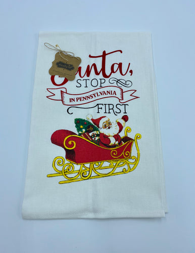 Santa Stop By Christmas Towel