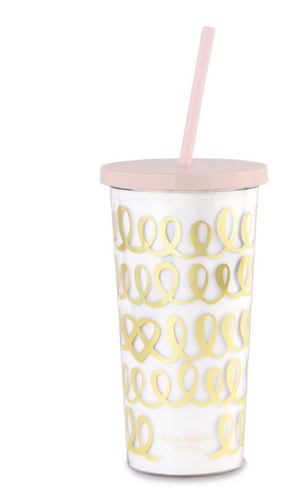 Tumbler With Straw, Heart Knot
