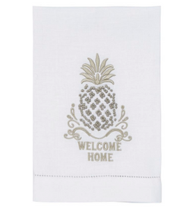 Welcome Home French Knot Pineapple Towel.