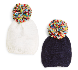 Let's Chill Chenille hat with yarn pompom